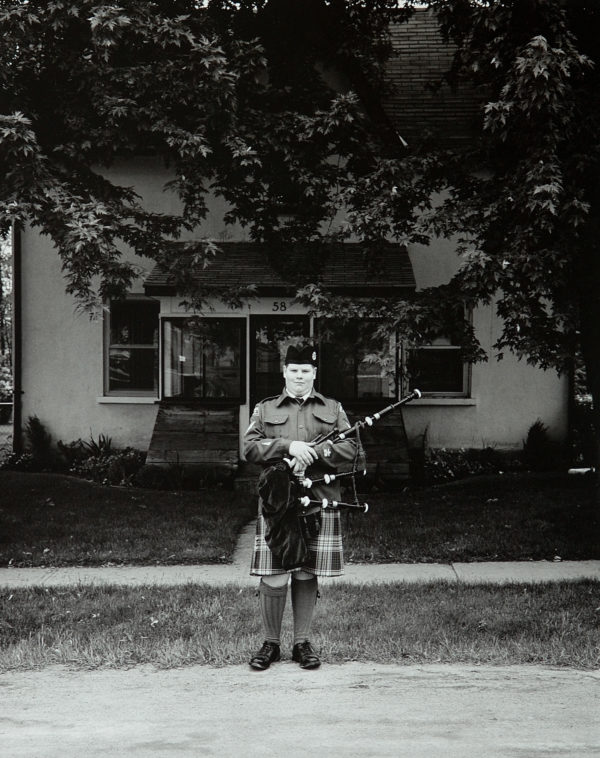 Tom Zsolt, Cadet with Bagpipes, 2003, Silver Print,   13.5