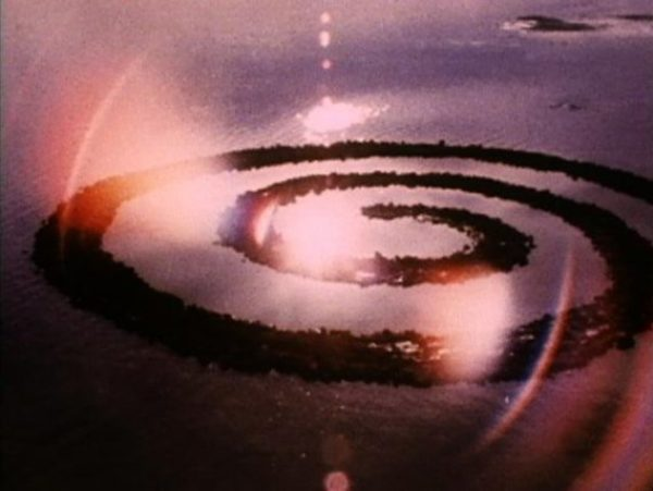 Robert Smithson, film still from Spiral Jetty, 1970. Courtesy Holt-Smithson Foundation and Electronic Arts Intermix (EAI) (New York)